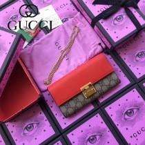 GUCCI-453506-4 新款PVC配牛皮絲印天竺葵系列女士壓花長夾