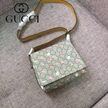 GUCCI 410815 少女心爆表草莓印花PVC配原版皮單肩斜挎包