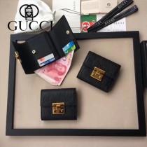 GUCCI-453155-2 時尚潮流新款全皮壓花黑色女士短夾