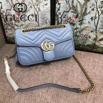 GUCCI 443497-017 專櫃最新色Marmont淺藍色波浪紋牛皮單肩斜挎包