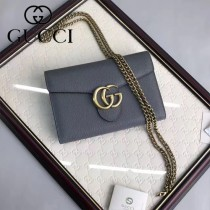 GUCCI 401232-06 時尚復古風雙G扣鐵灰色全皮單肩斜挎包