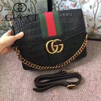 GUCCI 412008-08 商務女士之選黑色鱷魚紋配紅綠織帶手提單肩包