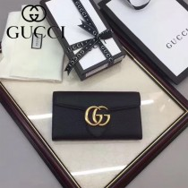 GUCCI 400586-9 時尚女士新款雙G扣黑色全皮搭扣長款錢包