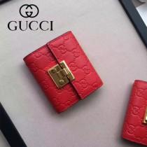 GUCCI-453155-3 時尚潮流新款全皮壓花紅色女士短夾