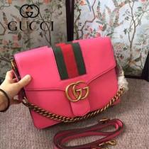 GUCCI 412008-07 商務女士之選枚紅皮配紅綠織帶手提單肩包