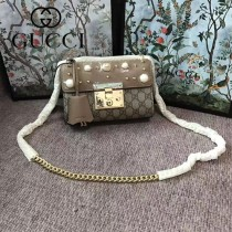 GUCCI 409487-014 新款女士Padlock珍珠系列PVC配杏色皮單肩斜挎包