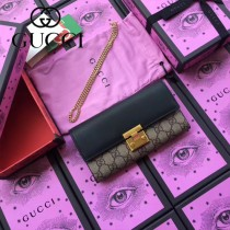 GUCCI-453506-3 新款PVC配牛皮絲印天竺葵系列女士壓花長夾