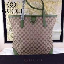 GUCCI 305585 時尚新款女士雙G帆布配綠色牛皮單肩購物袋