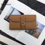 Delvaux-21-5 時尚復古Brillan Frence土黃色原版牛皮翻蓋錢包手拿包
