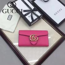 GUCCI 400586-13 時尚女士新款雙G扣枚紅色全皮搭扣長款錢包