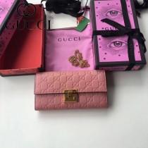 GUCCI-453506-6 時尚潮流新款全皮女士壓花粉色色長夾