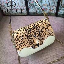 GUCCI-461913-3 豹紋雙用袋狂野豹紋最新款女士手提單肩斜挎包
