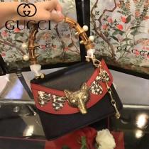 GUCCI-466428-3 最新款Gucci Bamboo全球限量款Borche GGsupreme Mini Bag時尚潮流狐狸頭手提單肩斜挎包