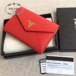 PRADA 1MH002 人氣熱銷款原單紅色十字紋信封款三折錢包