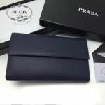 PRADA 1MH132 時尚商務女士原單深藍色牙籤紋搭扣長款錢包