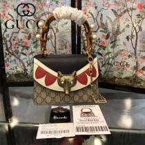 GUCCI-466428 最新款Gucci Bamboo全球限量款Borche GGsupreme Mini Bag時尚潮流狐狸頭手提單肩斜挎包