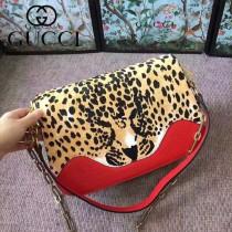 GUCCI-461913 豹紋雙用袋狂野豹紋最新款女士手提單肩斜挎包
