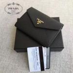 PRADA 1MH002-2 人氣熱銷款原單黑色十字紋信封款三折錢包