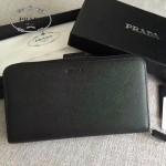 PRADA 2M1411 商務男士175鋼印黑色原版十字紋長款錢包