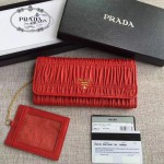 PRADA 1MH132-7 新款女士Gaufré紅色原版皺褶羊皮搭扣長款錢包