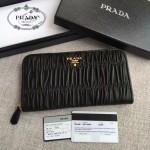 PRADA 1ML506-11 人氣熱銷175代工黑色原版羊皮長款拉鏈錢包