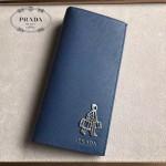 PRADA 2M0836-05 精英必備男士公仔系列藍色原版十字紋長款西裝夾