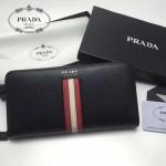 PRADA 2M1317-4 專櫃新配色175鋼印原單十字紋長款拉鏈錢包