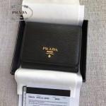 PRADA 1MH176 輕便實用女士黑色原版牙籤紋短款兩折錢包
