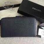 PRADA 2M1411-2 商務男士175鋼印藍色原版十字紋長款錢包