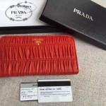 PRADA 1ML506-12 人氣熱銷175代工紅色原版羊皮長款拉鏈錢包