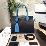 PRADA 1BA046-05 時尚女士藍色鱷魚紋手腕配原版皮手提單肩包