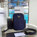 Prada-1N1860L-3 原單尼龍防水面料時尚潮流藍色相機包