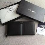 PRADA 2M1317-5 專櫃新配色175鋼印原單十字紋長款拉鏈錢包