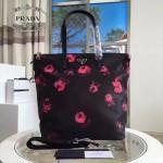 Prada-B4696F 玫瑰花原單降落傘尼龍防水面料購物袋