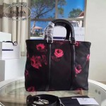 Prada-B1066M 時尚潮流玫瑰花防水布手提包斜挎包