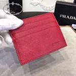Prada-2MC223-3 原版十字紋進口小牛皮6卡位卡片夾卡包