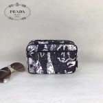 Prada-2NA006 黑色森林圖案進口降落傘尼龍材質化妝包