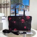 Prada-BR4842 時尚潮流玫瑰花防水面料購物袋