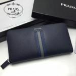 PRADA 2M1317-6 專櫃新配色175鋼印原單十字紋長款拉鏈錢包