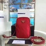 Prada-1N1860L-4 原單尼龍防水面料時尚潮流紅色相機包