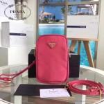 Prada-1N1860L-2 原單尼龍防水面料時尚潮流粉色相機包