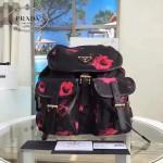 Prada-BZ0030 最新款玫瑰花原單防水尼龍料雙肩包