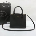 PRADA 1BA071-2 甜美淑女風黑色拼粉原版十字紋迷你風琴包