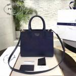 PRADA 1BA050B-3 專櫃最新設計藍配白原版十字紋小號風琴包