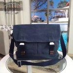 Prada-VA0887 藍色洗水布原廠代工帆布材質搭配牛皮男士斜挎包
