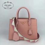 PRADA 1BA103 最新款粉色拼色原版十字紋手提單肩包小號風琴包