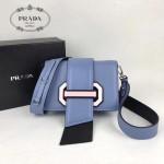PRADA 1BD067-6 楊冪同款藍色原版牛皮配樹脂扣單肩斜挎包