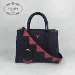 PRADA 1BA103-2 最新款黑色拼色原版十字紋手提單肩包小號風琴包