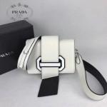 PRADA 1BD067-5 楊冪同款白色原版牛皮配樹脂扣單肩斜挎包