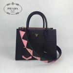 PRADA 1BA103-3 最新款黑色拼色原版十字紋手提單肩包小號風琴包